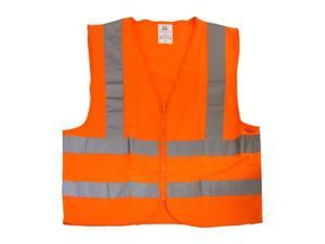 Neiko High Visibility Zipper Front Safety Vest with Reflective Strips, Orange Wrap Knitted, ASIN/ISEA Standard - Size XXXL