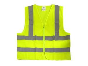 Neiko High Visibility Neon Yellow Mesh Zipper Front Safety Vest with Reflective Strips, ASIN/ISEA Standard - Size XXL