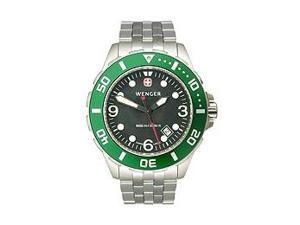 Wenger AquaGraph 1000m Green Bezel Black Dial Men's Watch #72227