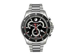 Movado 800 Performance Black Dial Chronograph Stainless Steel Mens Watch 2600090