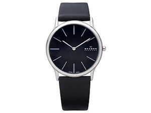 Skagen Leather Collection Super Slim Black Dial Men's watch #858XLSLB