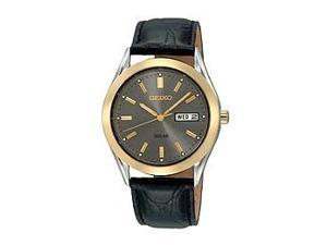 Seiko Leather Strap Grey Dial Men's Watch #SNE050