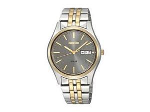 Seiko Two-Tone Stainless Steel Grey Dial Men's Watch #SNE042