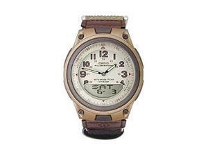 Casio AW80V-5BV Men's World Time Analog & Digital 50M Nylon Velcro Strap Watch