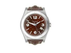Gucci Pantheon Brown Leather Brown Dial Men's Watch #YA115231