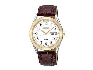 Seiko Leather Strap White Dial Men's Watch #SNE056