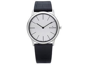 Skagen Silver Dial Stainless Steel Black Leather Mens Watch 858XLSLC