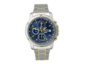 Seiko Chronograph Two-Tone Bracelet Blue Dial Men's Watch #SNDB05