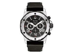 Bulova Men's Marine Star Chronograph Black Dial Black Rubber