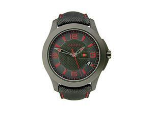 Gucci G-Timeless Leather Strap PVD Black Dial Men's watch #YA126224