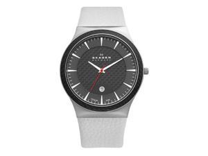 Skagen Titanium White Strap Carbon Fiber Dial Men's Watch #234XXLTLW