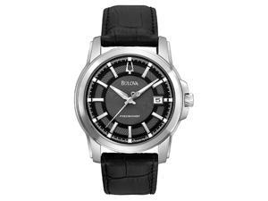 Bulova Precisionist Grey Dial Black Leather Mens Watch 96B158