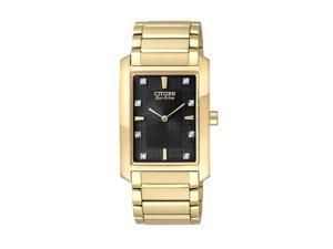 Citizen BL6052-51E Eco-Drive Strainless Steel Gold Tone Palidoro Diamond Accented Black Dial