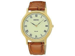 Seiko Leather Strap Champagne Dial Men's Watch #SUP876