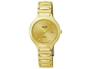 Seiko Expansion Bracelet Gold-Tone Dial Womens Watch #SUT180