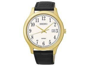 Seiko Three-Hand Gold-Tone Stainless Steel and Black Leather Men's watch #SUR086