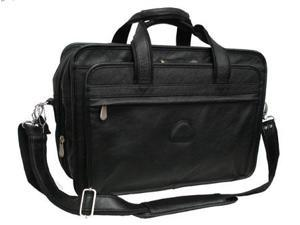 Black Leather Practical Expandable Computer Case (#2438-0)