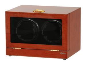 Double Watch Winder Mahogany Wood w/LCD Display