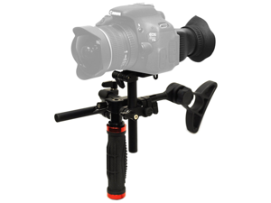 Opteka CXS-700 2-in-1 Shoulder Rig and Handgrip with 3x Viewfinder Hood