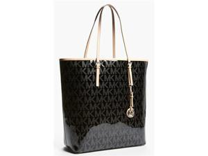 Michael Kors Jetset Monogram Shopper Travel Bag Tote Black