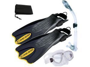 Cressi Palau Short Fins, Perla Mask, Dry Snorkel Set - Large/X-Large