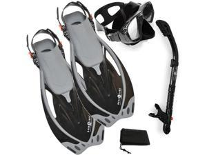Aqualung Sport Wave Fins, Dry Snorkel, Purge Mask, Snorkel Set