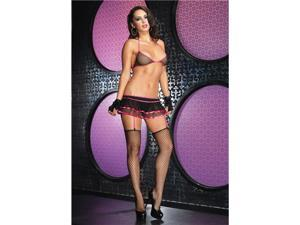 2Pc.Fishnet Bikini Top And Layered Garter Skirt