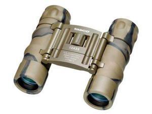 Tasco Essential 12x25 Roof Prism Waterproof Binoculars, Brown Camo, Clam Pack 17