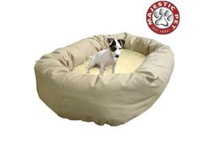 "Majestic Pet Large 40"" Donut Dog Bed (40""x31""x12""), Khaki / Sherpa - OEM"