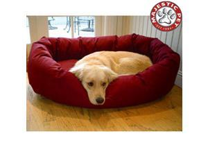 "Majestic Pet Medium 32"" Bagel Dog Bed (32""x28""x10""), Burgundy - OEM"
