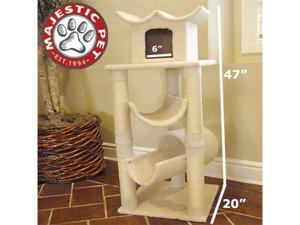 "Majestic Pet 47"" BUNGALOW Cat Tree - Cream White SHERPA - OEM"