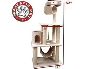 "Majestic Pet 62"" Bungalow Cat Tree - Cream White Sherpa - OEM"