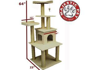 "Majestic Pet 64"" BUNGALOW Cat Tree - Cream White SHERPA - OEM"