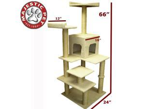 "Majestic Pet 66"" BUNGALOW Cat Tree - Cream White SHERPA - OEM"