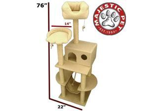 "Majestic Pet 76"" BUNGALOW Cat Tree - Cream White SHERPA - OEM"
