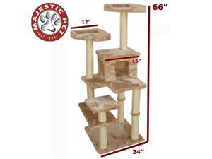 "Majestic Pet 66"" CASITA Cat Tree - Honey Brown FUR - OEM"
