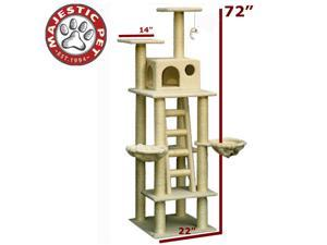 "Majestic Pet 72"" BUNGALOW Cat Tree - Cream White SHERPA - OEM"