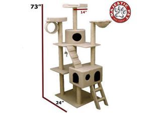 "Majestic Pet 73"" BUNGALOW Cat Tree - Cream White SHERPA - OEM"