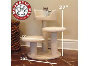 "Majestic Pet 27"" BUNGALOW Cat Tree - Cream White SHERPA - OEM"