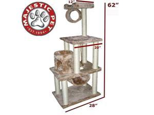 "Majestic Pet 62"" CASITA Cat Tree - Honey Brown FUR - OEM"