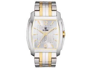 Bulova Mens Silver Dial Two-Tone Stainless Steel Bracelet Watch 98B109