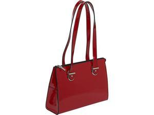 Jack Georges Patent Collection Top Zip Shoulder Handbag