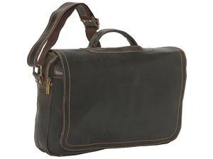 David King & Co. Distressed Leather Porthole Briefcase