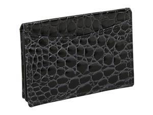 Budd Leather Crocodile Bidente Gusseted Business Card Case
