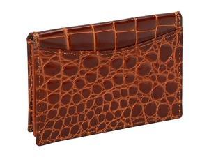 Budd Leather Crocodile Bidente Gusseted Business Card Case