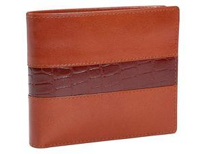 Leatherbay Double Fold Wallet w/Croc Accents