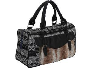 Ashley M Sweater Knit Faux Fur Satchel