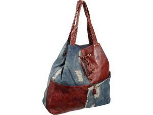 AmeriLeather Trisha Leather/Ripped Denim Tote