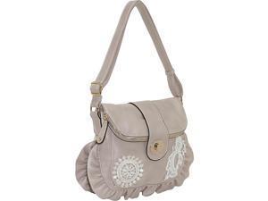 Ashley M Faux Leather Shoulder Bag with Lace Details