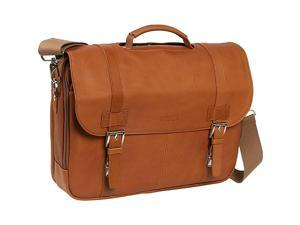 Kenneth Cole Reaction Show Business Colombian Leather Flapover Computer Case - Tan